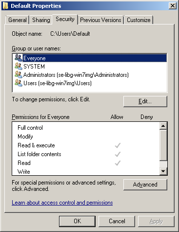 how to change default user profile win 7