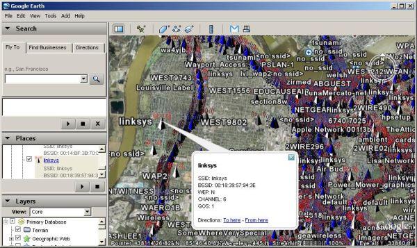 IGiGLE: Irongeek's WiGLE WiFi Database to Google Earth