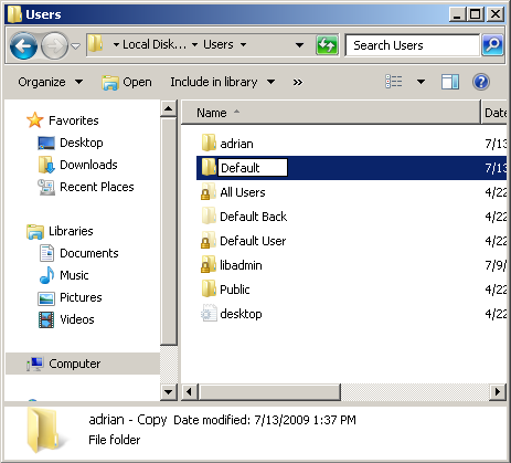 Windows 7: Copy A Modified User Profile Over The Default Profile